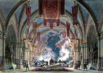 Grand opera - Meyerbeer Le Prophète Set Design for the final conflagration by Philippe Chaperon