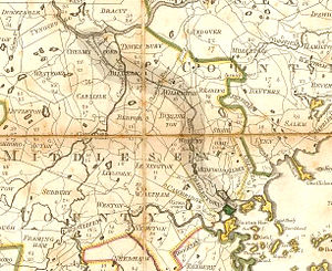 Middlesex Canal - Image: Middlesex Canal (Massachusetts) map, 1801