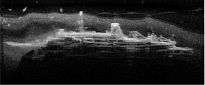 MS Mikhail Lermontov - NIWA sonar image of the Mikhail Lermontov resting on the seafloor.