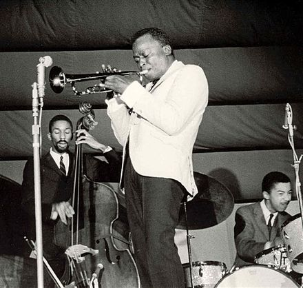 Davis performing in Antibes, France in July 1963 Miles Davis (Antibes Juan-les-Pins 1963).jpg