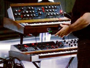 Memorymoog - Minimoog (top) and Memorymoog (bottom)