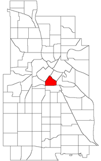 Location of Elliot Park within the U.S. city of Minneapolis