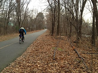 Minuteman Bikeway - The Minuteman Commuter Bikeway in Lexington, with abandoned tracks from former use as a rail line