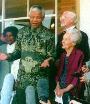 Orania, Northern Cape - Nelson Mandela, Betsie Verwoerd and Carel Boshoff during Mandela's visit to Orania in 1995