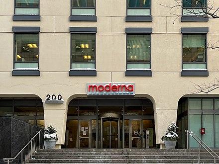 マサチューセッツ州ケンブリッジにあるモデルナ本社
