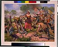 Molly Pitcher firing cannon at Battle of Monmouth) - E. Percy Moran LCCN96516279.jpg