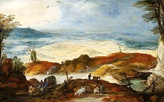 Dune landscape with travellers and cattle (A sandhill).