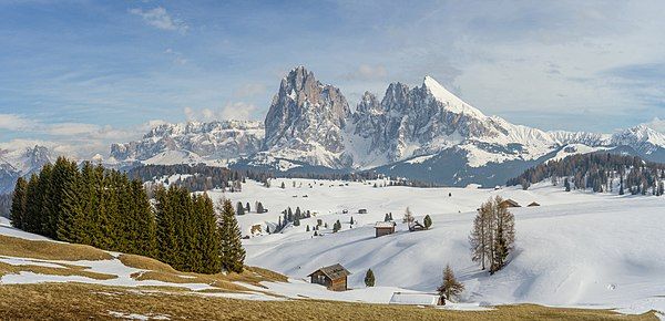 The Seiser Alm and the Gröden Dolomites in South Tyrol.