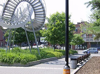 Papineau station - Michel de Broin's Revolutions (2003) is sited in the park beside the station