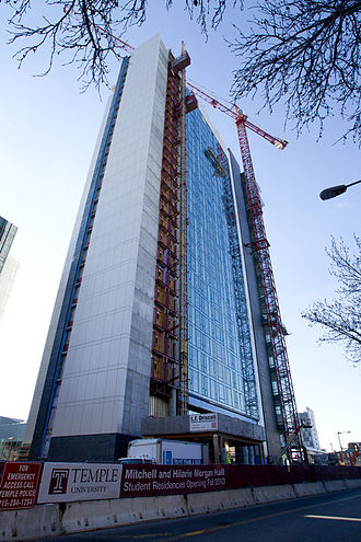 Temple University - The Mitchell and Hilarie Morgan Hall (corner of North Broad Street and Cecil B. Moore Avenue in Philadelphia) under construction in 2013.