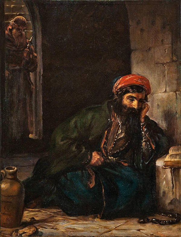 Jewish prisoner preparing his defence, a Capuchin distant in the doorway. Moritz Daniel Oppenheim - Jewish prisoner of the Damascus Affair.jpg