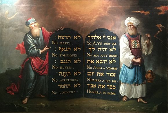 Moses and Aaron with the Ten Commandments (painting circa 1675 by Aron de Chavez) Moses and Aaron with the 10 Commandments 1674.jpg