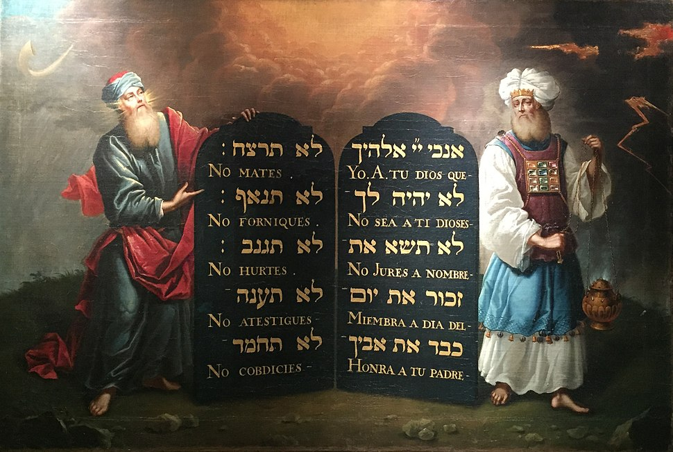 Moses and Aaron with the 10 Commandments 1674