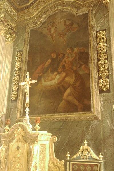 Maitre autel classé de l'Église Saint-Germain de fr:Moyon Le tableau, retrouvé en juin 1956 dans la décharge de Monthuchon, date de la fin du 17e siècle