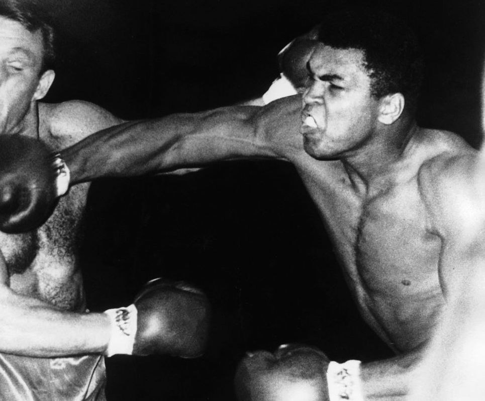 Muhammad Ali fights Brian London on August 6, 1966 (cropped)