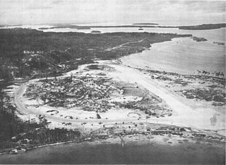 Munda, Solomon Islands - Munda Point Airfield in New Georgia seen from West - Central Solomons - 1943