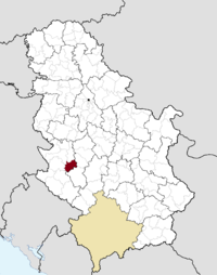 Location of the municipality of Arilje within Serbia