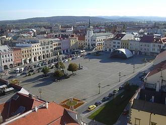 Kroměříž - Town square seen from the Kroměříž Castle tower