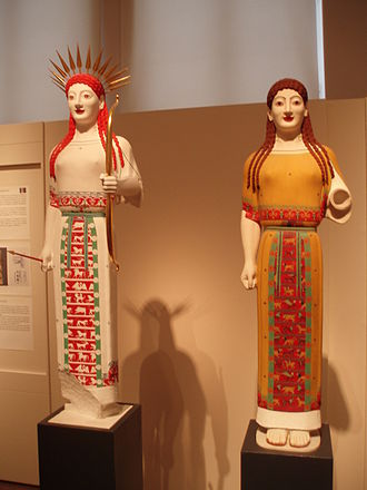 Gods in Color - Various reconstructions of the Peplos Kore in various reconstructions at the Athens exhibit