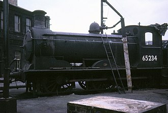 NBR C Class - A sister locomotive to Maude connected as a stationary boiler, St Margaret's shed, Edinburgh, April 1967