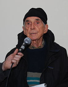 Father Daniel Berrigan speaking at a Witness Against Torture event held on December 18, 2008 in the Lower East Side (New York City).