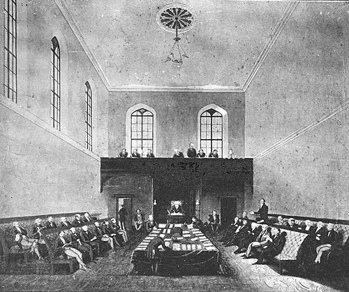 First meeting of the NSW Legislative Council in Parliament House, 1843 (chamber now the Legislative Assembly).