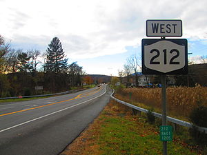 New York State Route 212 - NY 212 westbound after the junction with NY 32 in the town of Saugerties