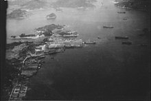 A photo of the harbor at Nagasaki in August 1945 before the city was hit with the atomic bomb
