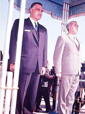 Amin al-Hafiz - Hafiz (right) with Egyptian President Gamal Abdel Nasser on his arrival to Cairo for the Arab League summit, 1964