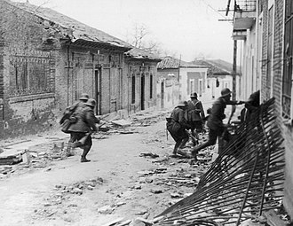Siege of Madrid - Nationalist soldiers raiding a suburb, March 1937