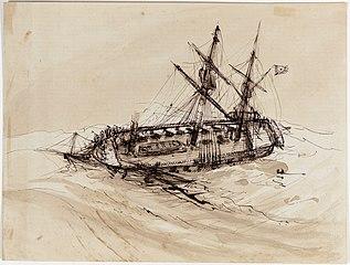 Navio brasileiro tombado