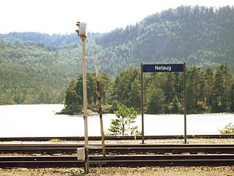 Nelaug (lake) - Image: Nelaug stasjon ved Nelaug sjø