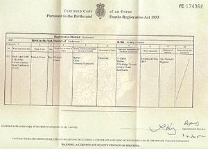 Nelson Victor Carter - Nelson Victor Carter VC birth certificate