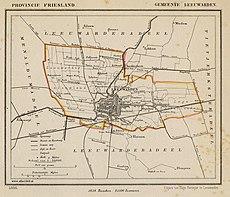 Netherlands, Leeuwarden, map of 1866