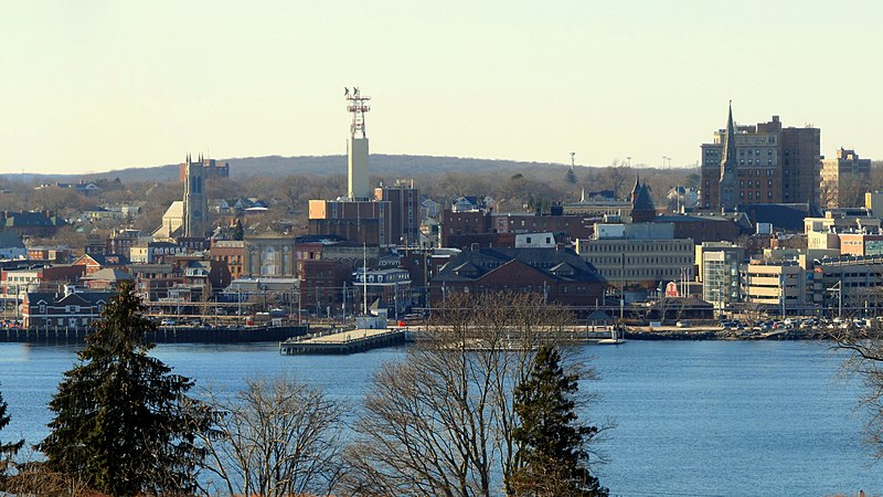The New London skyline, viewed from Fort Griswold Battlefield State Park in Groton, Connecticut.