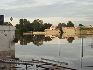 New Road, Worcester - New Road flooded during the 2007 season, leading to two abandoned matches.