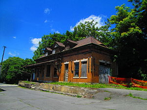 Newport, Pennsylvania - The former Pennsylvania Railroad depot in Newport, alongside PA 34