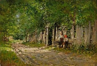 Nicolae Grigorescu - Fete lucrand la poarta.jpg