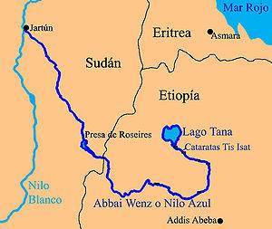 Kort over den blå nil (på spansk)