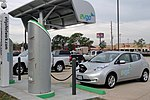 Nissan Leaf recharging in Houston, Texas