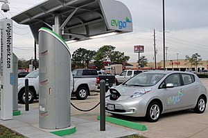 Charging station - Nissan Leaf recharging in Houston, Texas