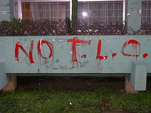 Picture of anti-CAFTA graffiti