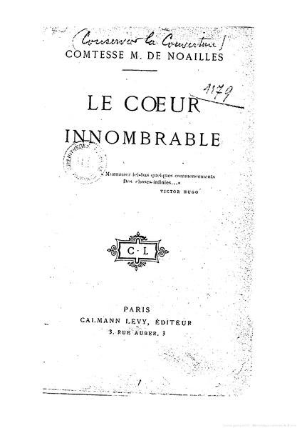 File:Noailles - Le Cœur innombrable, 1901.djvu