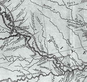 "Nishnabotna River - This excerpt from the Lewis and Clark map of 1814 shows the rivers of southwest Iowa, southeast Nebraska, and northwest Missouri. The ""Nish-na-bot-to-na River"" is seen in the west-central portion of the map."
