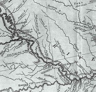 Nemaha Half-Breed Reservation - This section from the Lewis and Clark map of 1814 shows period Indian villages in SW Iowa, SE Nebraska, and NW Missouri. It also shows the Little and Great Nemaha rivers.