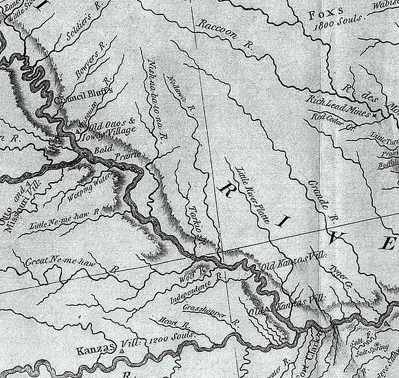 This section from the Lewis and Clark map of 1804 shows period Indian villages in southwest Iowa, southeast Nebraska, and northwest Missouri. The Otoe, Iowa, Missouri and Kansas tribes are specifically identified. Nodaway-lewis.jpg