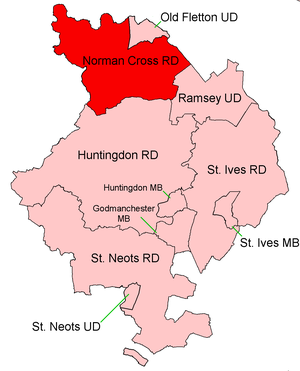 Norman Cross Rural District - Position within Huntingdonshire