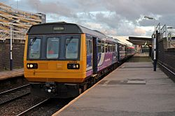 Northern Rail class 142, 142062, Salford Central railway station (geograph 4500635).jpg