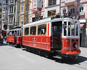 Public transport in Istanbul - A nostalgic tram on Istiklal Avenue