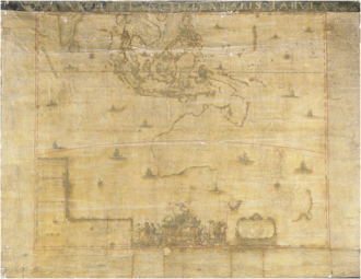 """Melchisédech Thévenot -  Nova archipelagi orientalis tabula, 1663 by Johannes Blaeu. """"Papas landt or Nova Guinea, Nova Hollandia, discovered in the year 1644, Nova Zeelandia or New Zealand reached in 1642, Antoni van Diemens land found in the same year, Carpentaria, thus named after General Carpentier, and still other lands, partly discovered, are shown on this map."""""""